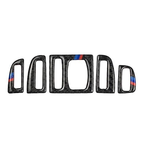 Fibra de carbono Ar Condicionado Central de Ventilação Tampa Da Tomada Guarnição Adesivos Decor 5 Pcs Para BMW F10 5 Series 2011-2017