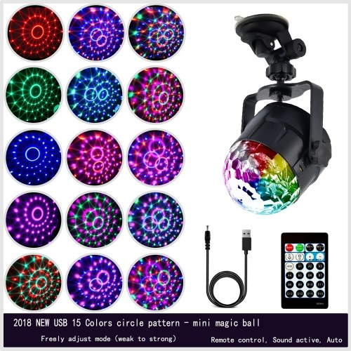 15 Colors LED USB DJ Disco Ball Lumiere 5W Sound Activated Projector