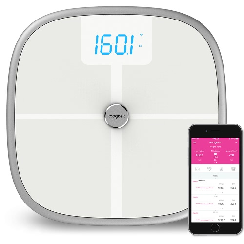 Koogeek Smart Health Scale BT WiFi Sync Measures Muscle Bone Mass BMI BMR and Visceral Fat Weight Body Fat Water 16 Users Recognition 330lb/150kg Weight Capacity