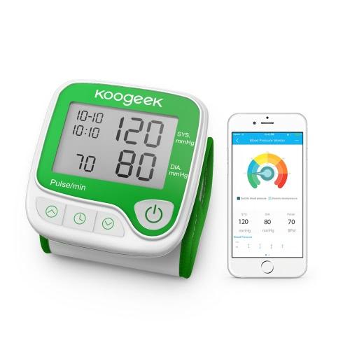 Koogeek Smart-Handgelenk-Blutdruckmessgerät mit Herzfrequenz-Erkennung und Memory-Funktion Vollautomatische für den Heimgebrauch