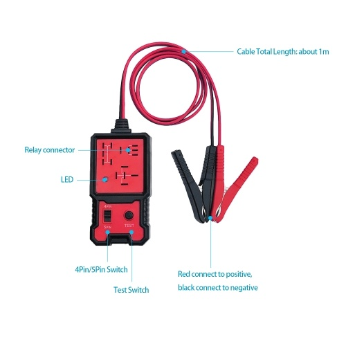 12V Car Battery Checker Electronic Relay Tester with Clips Auto Relay Diagnostic Tool
