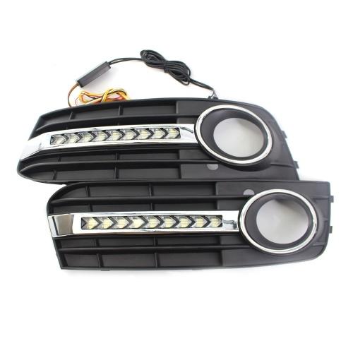 Image of Frontstoßstange Nebelscheinwerfer Grills Led Blinker L & R Mesh Grille Fit für AUDI A4 B8 09-11