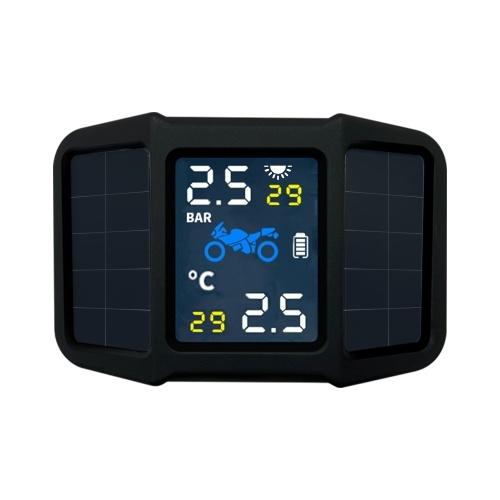 Sistema de monitoreo de presión de neumáticos TPMS Energía solar con 2 sensores externos Pantalla de temperatura de presión en tiempo real