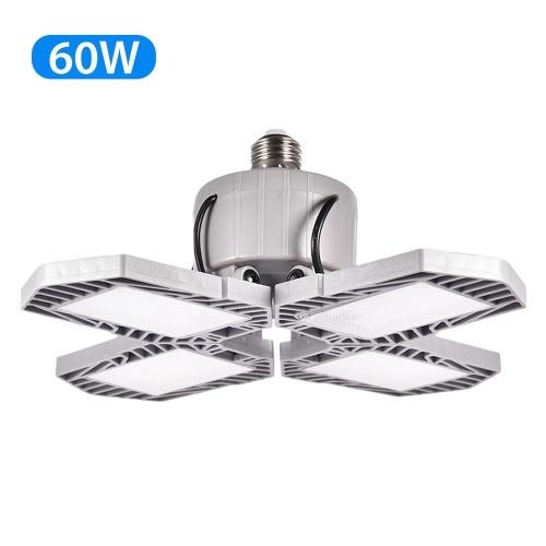LED Garage Light Foldable Deformable Garage Ceiling Lamp with 4 Adjustable Panels 60W 6000LM  for Warehouse Bar Basement