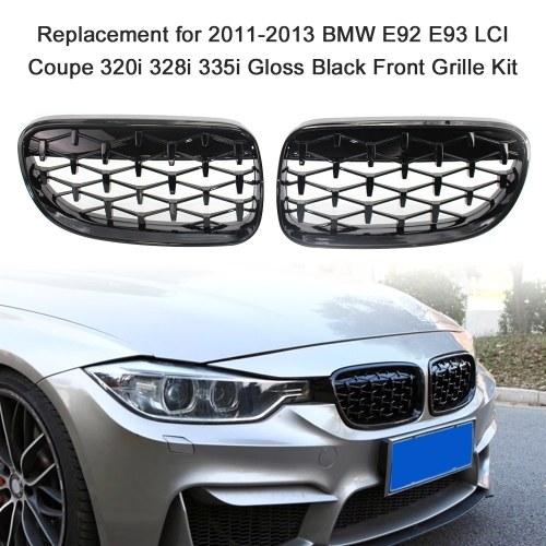 Reemplazo para 2011-2013 BMW E92 E93 LCI Coupe 320i 328i 335i Kit de parrilla delantera negra brillante