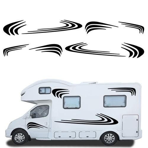 Автомобиль Две стороны RV Полосы Графика Наклейки Авто Наклейки Виниловая Графика для Каравана Travel Trailer Camper Van