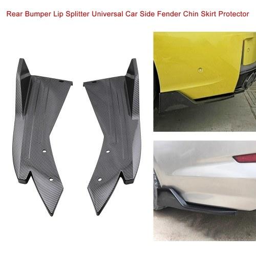 Parachoques trasero Divisor de labios Fibra de carbono Universal Car Side Fender Fins Body Lip Spoiler Chin Skirt Protector, negro