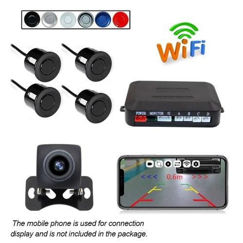 4pcs Wireless Backup Camera HD WIFI Car Auto Vehicle Reverse Backup Radar System for(12V) Car, SUV, MPV, WiFi Backup Camera with Night Vision, IP67 Waterproof LCD Wireless Reversing Monit