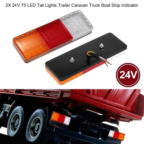 2X 24V 75 LED Tail Lights Trailer Caravan Truck Boat Stop Indicator