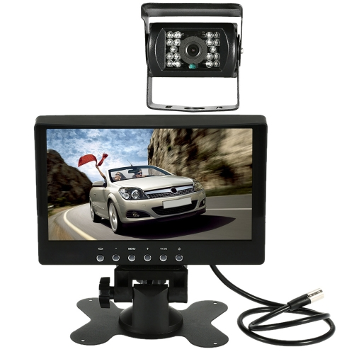 7 Inch Large TFT LCD Monitor with Sunshade Wireless Video Transmit Car Rear View Backup Reverse System for Bus Truck + LED Night Vision Camera Kit