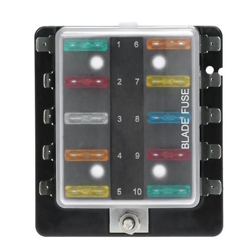 10 Way Blade Holder Fuse Box z plastikową osłonę dla samochodów Boat Marine 12V 24V