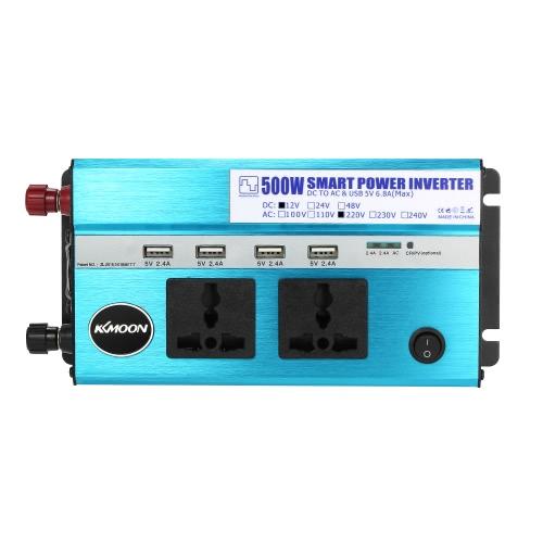 KKmoon 500W samochodowy przetwornica prądu stałego DC 12V do AC 220V 50Hz z 4 portami USB / 2 gniazdami zasilania