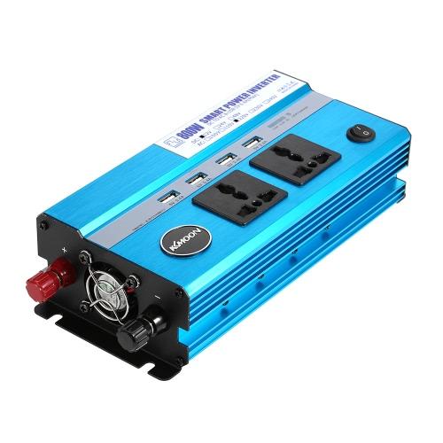 KKmoon 800W Car Power Inverter DC 12V a CA 220V 50Hz con 4 puertos USB / 2 tomas de corriente alterna