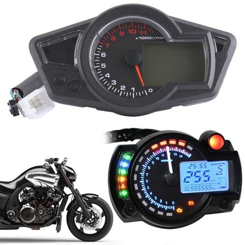 Motorcycle LCD Digital Meter Multipurpose LCD Odometer Speedometer with Blue Light
