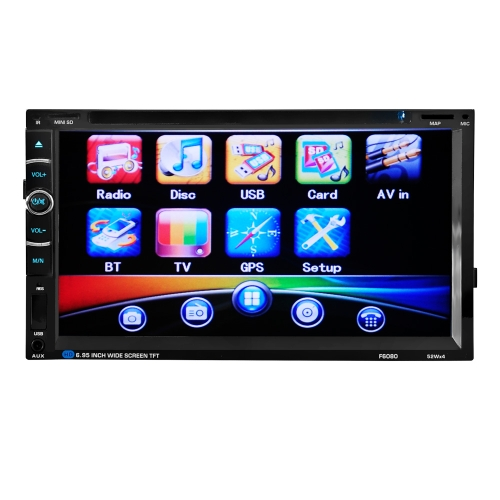 2 Din 6.95'' inch Digital Touch Screen Car Radio Audio with GPS Navigation Remote Control Multimedia Video DVD Player BT Hands Free Rear View Camera