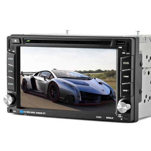 6.2 pouce HD Digtal Écran Tactile 2 Din Voiture 6202 Lecteur DVD CD / USB / BT Auto Multimédia Radio Stéréo Dans Dash MP5 Audio Vedio Télécommande avec Navigation GPS