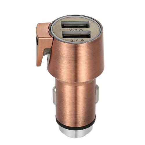 3 en 1 Dual USB 3.4A Chargeur de voiture de véhicule de sécurité Aluminium Zinc Metal Car Cigarette Power Adapter avec Emergency Escape Window Breaker et ceinture de sécurité Cutter gris