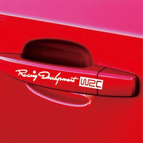 4pcs Rear-view Mirror WRC Car Body Styling Sticker Removable Waterproof