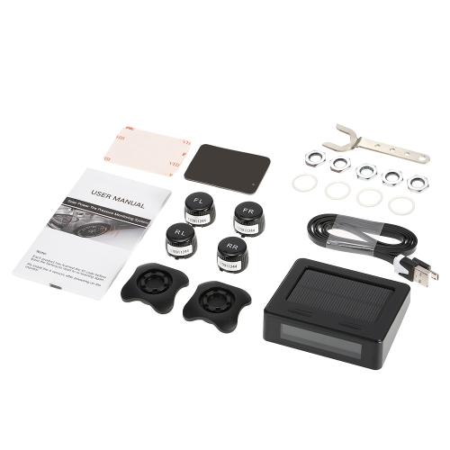 Système de surveillance de pression des pneus TPMS de voiture Charge de charge solaire Affichage numérique LCD Bar / PSI Unité w / 4 capteurs internes