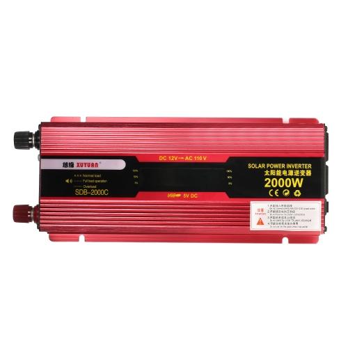 2000W WATT Peak Car LED Power Inverter DC 12V to AC 110V Dual Converter Charger