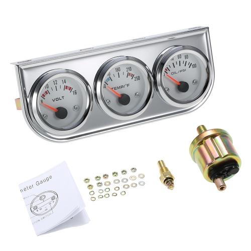 52MM Pression d'huile Celsius Jauge de Température de l'Eau Voltmètre Chrome 3 en 1 Jauge Kit Voiture Moto Mètre