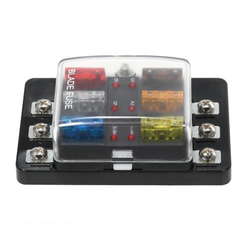 Caja de fusibles de 6 vías con indicador LED de bloque de fusibles para barco marino 12V 24V