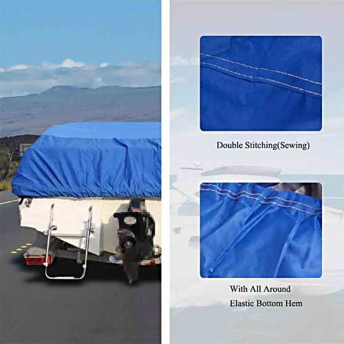 17-19FT Boat Cover Waterproof Silver Reflective Fits V-HULL TRI-HULL Fishing Boat Runabout Bass Boat Heavy Duty Trailerable Fishing SKI Protection