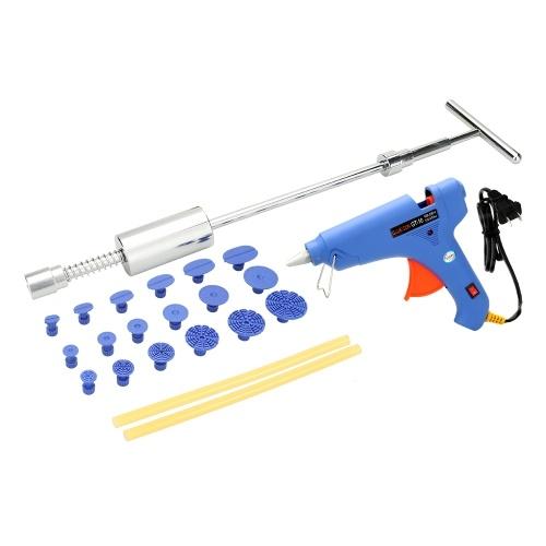 Kit de herramientas de reparación de abolladuras sin pintura del coche Martillo deslizante Tabs + 100-240V 100W Hot Melt Pistola de pegamento con barras de pegamento