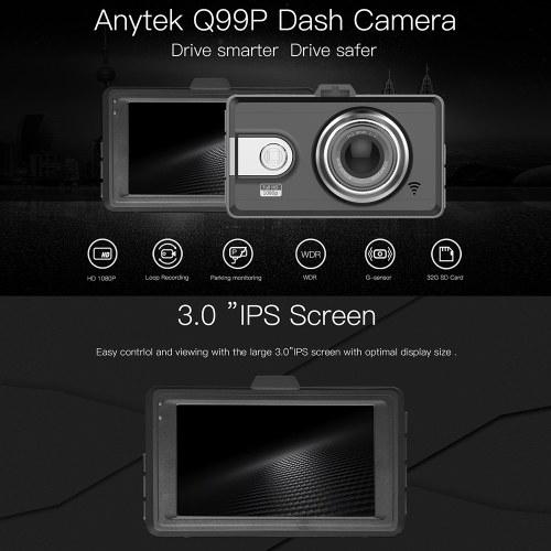 Anytek A78 3/'/' IPS 1080P 170°Car DVR Camera Night Vision Video Recorder Dash Cam