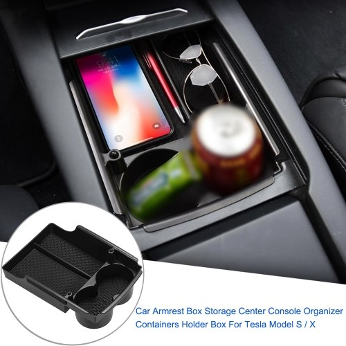 Car Armrest Box Storage Center Console Organizer Containers Holder Box For Tesla Model S / X