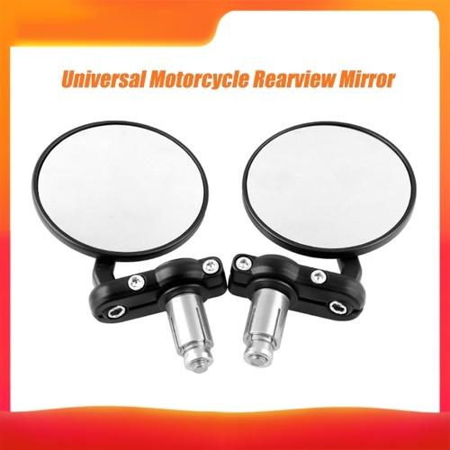 "1 Par Espelhos Laterais da Motocicleta CNC Alumínio Girar Redondo 7/8 ""Guiador Extremidade Lateral Retrovisores Espelhos Retrovisores Universal Preto Modificado"