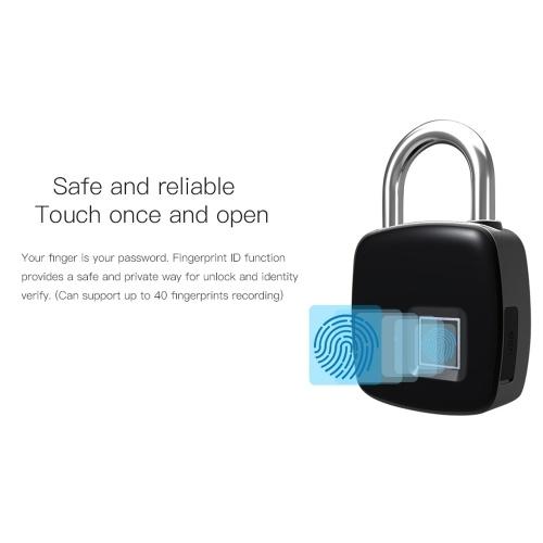 Anytek P3+ Smart Keyless Fingerprint Lock IP54 Waterproof Bluetooth 4.1 Andriod IOS App Control Electronic Anti-theft Security 40 Sets Fingerprints Padlock Door Luggage Case