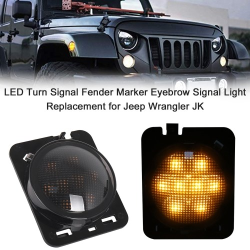 LED Turn Signal Fender Marker Flare Side Light Eyebrow Signal Light Smoke Lens Replacement for Jeep Wrangler JK 2007-2017