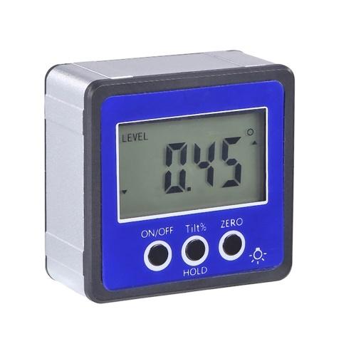 Horizontaler Winkelmesser Digitaler Winkelmesser Neigungsmesser Elektronische Nivellierbox Magnetfuß Messwerkzeuge Blau