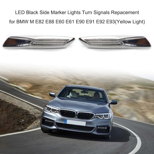 LED Black Side Marker Lights Turn Signals Repacement for BMW M E82 E88 E60 E61 E90 E91 E92 E93(Yellow Light)