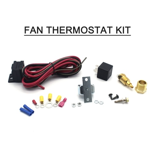 Kit de termostato del ventilador Kit de controlador de ventilador ajustable Kit de relé de temperatura del sensor de temperatura # 3101, ENCENDIDO A 200 grados F APAGADO A 185 grados F