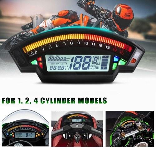 Мотоцикл одометр спидометр датчик уровня топлива 14000 об / мин универсальный для 1,2,4 цилиндров, ЖК-дисплей мотоциклетный прибор спидометр 199 км / ч