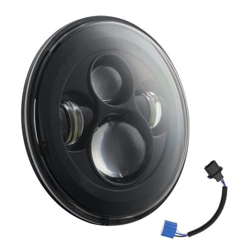 7 inch Round Black LED Headlight High Low Beam Replacement for Wrangler