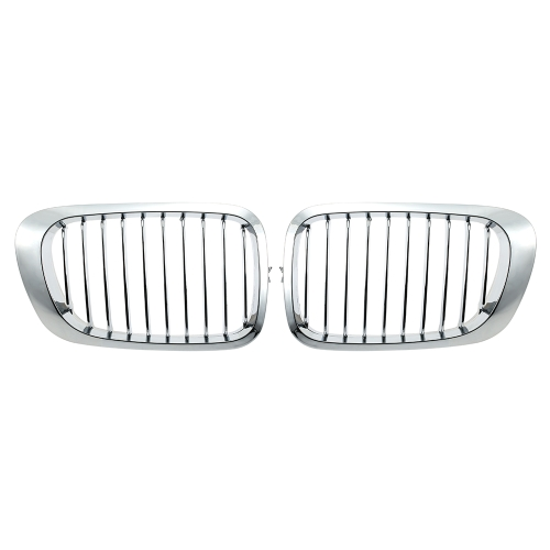 One Pair Silver Color Plating Front Kidney Grille Grill for BMW E46 2 Door 1998-2002