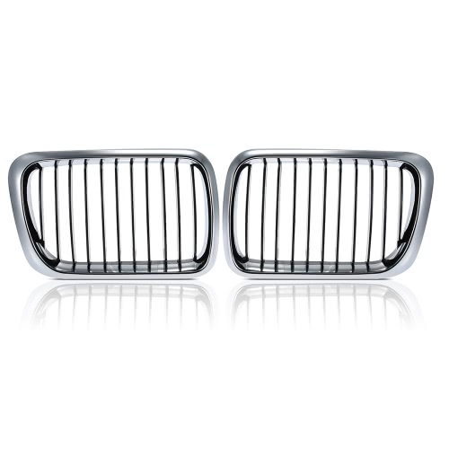 One Pair Front Center Wide Kidney Hood Grilles Half Silver Color Plating Black & Silver Grill for BMW E36 1995 1996 1997 1998 1999