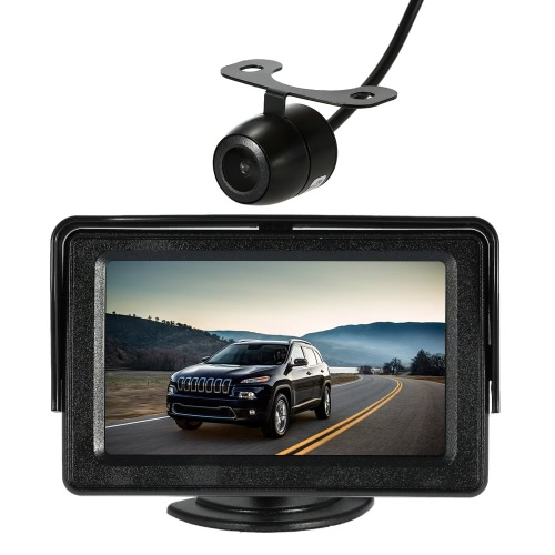 4.3 Inch TFT LCD Monitor with Sunshade Car Rear View Backup Reverse System with Wireless Video Transmit + Mini Camera