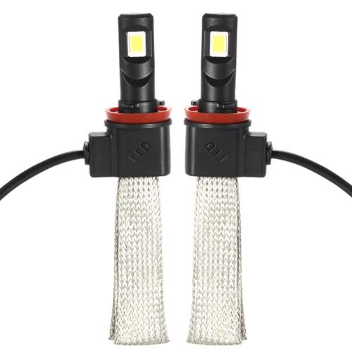 KKmoon 1 Pair of 30W 3200LM H11 COB Chip LED Headlight Fog Light 12V 24V Car Upgrade Replacement Bulb Beam Kit 6000K White