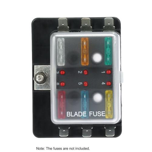 kkmoon 6 way blade fuse box holder with led warning light kit for car boat  marine trike 12v 24v