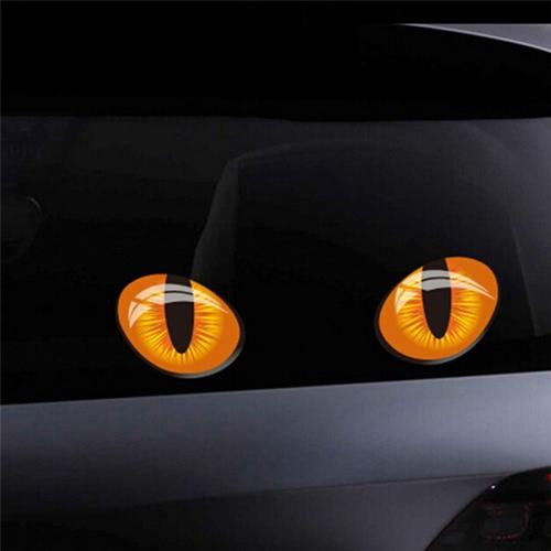 2Pcs 3D Funny Cat Eyes Car Sticker Cute Simulation Reflective Auto Decal Retrovisor Mirror Window Cover Décoration Accessoires extérieurs (12 * 16CM)