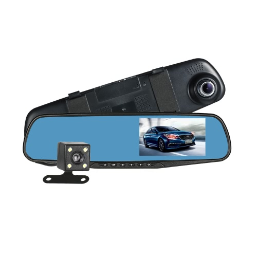 FHD 1080P 4.3'' Dual Lens Car DVR Rear View Mirror Dash Cam Video Camera