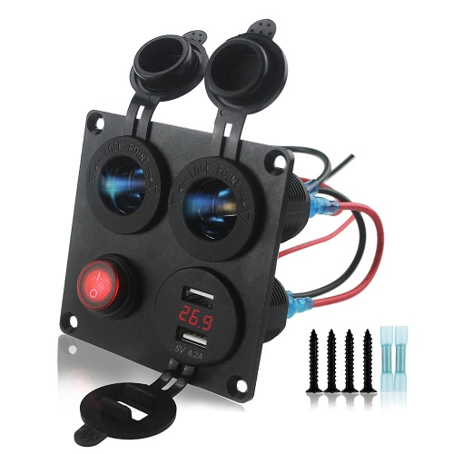 4 en 1 Chargeur Socket Panel, Dual USB Socket Charger 4.2A Voltmètre à LED rouge 12V-24V Power Outlet Button Switch, quatre fonctions Panneau pour voiture Boat Marine RV Truck Camper Vehicles