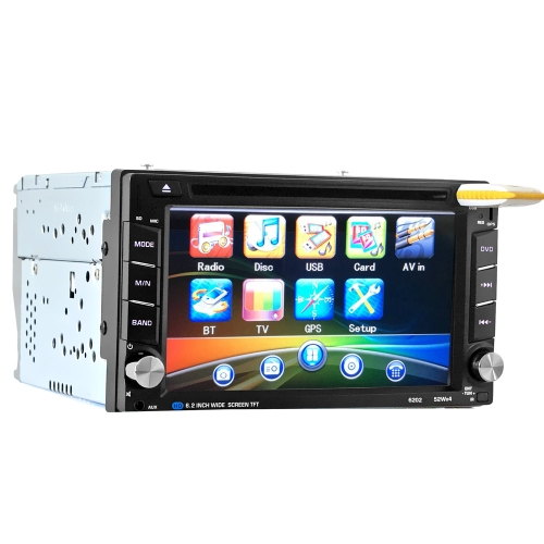 6.2 polegadas HD Digtal Touch Screen 2 Din Car 6202 Leitor de DVD CD / USB / BT Auto Multimedia Stereo Radio no Dash MP5 Audio Vedio Controlador remoto com navegação GPS