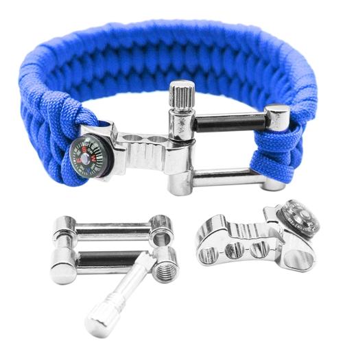 Multifonctions Compass Opener Grattoir réglable Fire Starter Kit de survie Bracelet