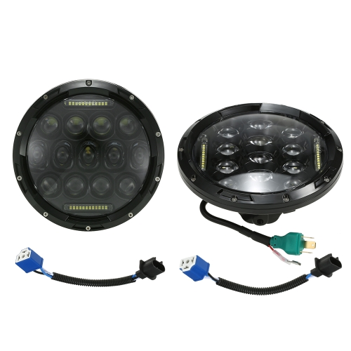 Pair of 75W LED light 7'' Round Headlight With DRL High Low Beams for Jeep Wrangler CJ JK TJ for Harley