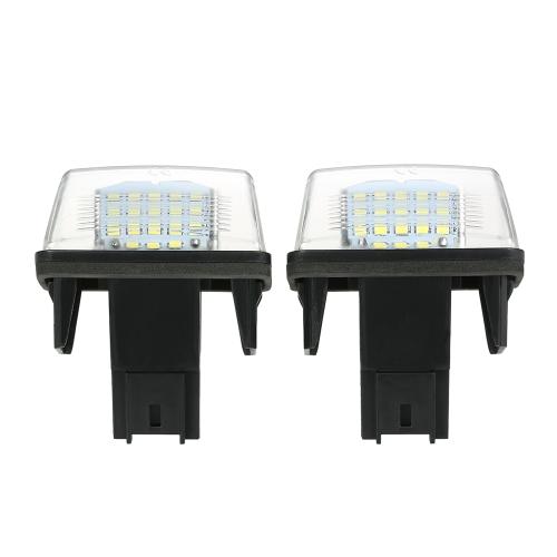 2PCS NO Error LED Number License Plate Light For Peugeot 206/207/307/308 For Citroen C3/C4/C5